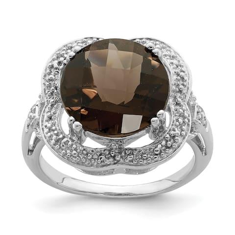 Sterling Silver Rhodium-plated Checker-cut Smoky Quartz Ring by Versil