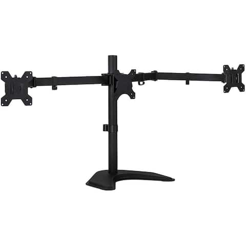 Mount-It! Triple Monitor Stand - Freestanding Computer Desk Mount Fits Up to 32 Inch Monitors, VESA 75, 100 Compatible