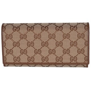 Gucci Women's 346058 Beige Brown Canvas Leather Continental Bifold Wallet