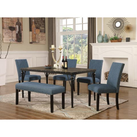 Biony 6-Piece Espresso Wood Dining Set with Fabric Nailhead Chairs and Dinning Bench