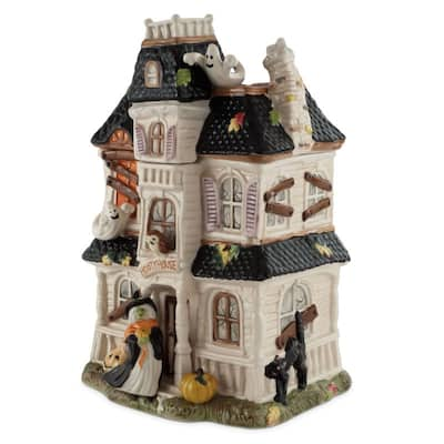 Fitz and Floyd Halloween Harvest Haunted House Cookie Jar
