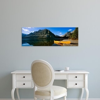 Easy Art Prints Panoramic Images's 'Canoe at the lakeside, Bow Lake, Banff National Park, Alberta, Canada' Canvas Art