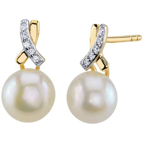14K Yellow Gold Freshwater Pearl Infinity Solitaire Stud Earrings
