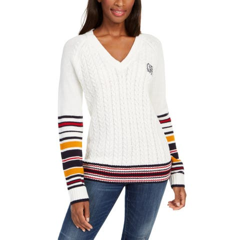 Tommy Hilfiger Womens Pullover Sweater Contrast Trim Embroidered Logo