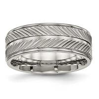 Titanium Polished Grooved Ring (8 mm)