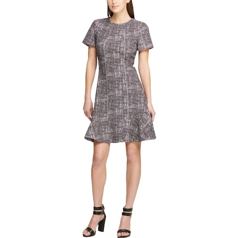DKNY Womens Scuba Dress Seamed Short Sleeve
