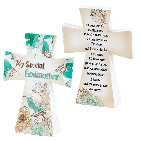 """My Special Godmother Bird And Flowers White Tabletop Resin Cross 5"""" x 3"""" - other-frame-size"""