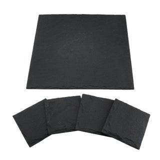 5 Piece Eco-Friendly Natural Slate Serving Board and Drink Coaster Set