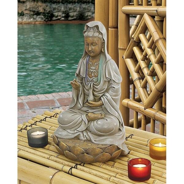 Design Toscano Goddess Guan Yin Seated on a Lotus Statue