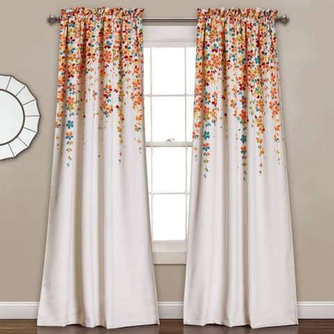 Lush Decor Weeping Flowers Room Darkening Curtain Panel Pair