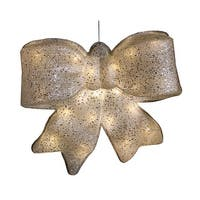 "15.5"" Silver Glittered Battery Operated Lighted LED Christmas Bow Decoration"