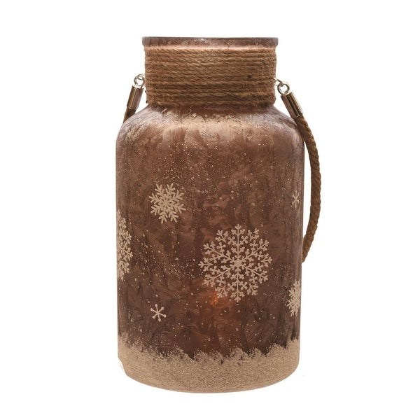 "10"" Brown Iced and Glittered Snowflake Decorative Christmas Pillar Candle Holder Lantern with Handle"