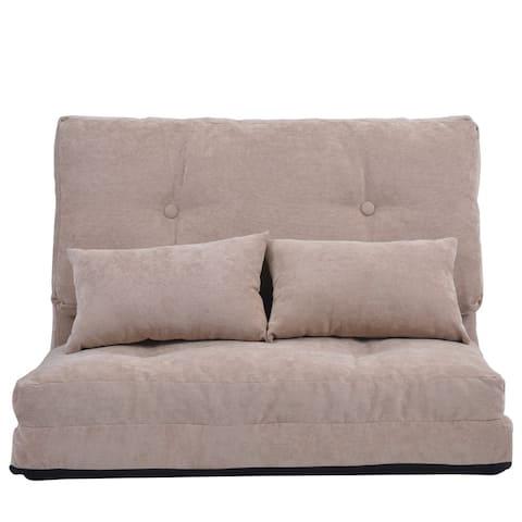 Porch & Den Othello Adjustable Folding Lounge Floor Sofa with Two Pillows