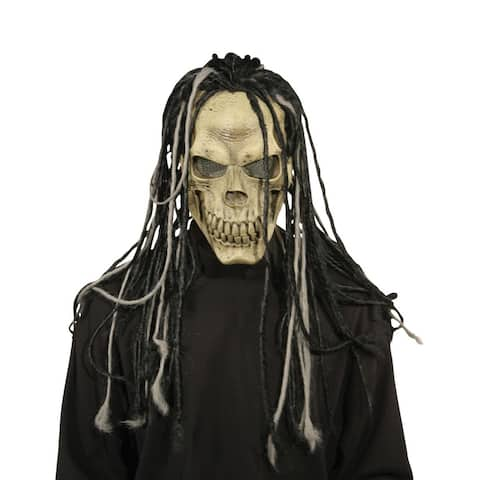 Beige and Black Dreaded Death Unisex Adult Mask Halloween Costume Accessory - One Size - One Size