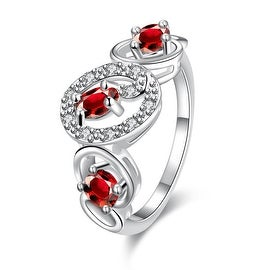 Trio-Ruby Red Circular Design Petite Ring