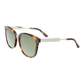 Gucci GG0073S 003 Havana/Silver Round Sunglasses