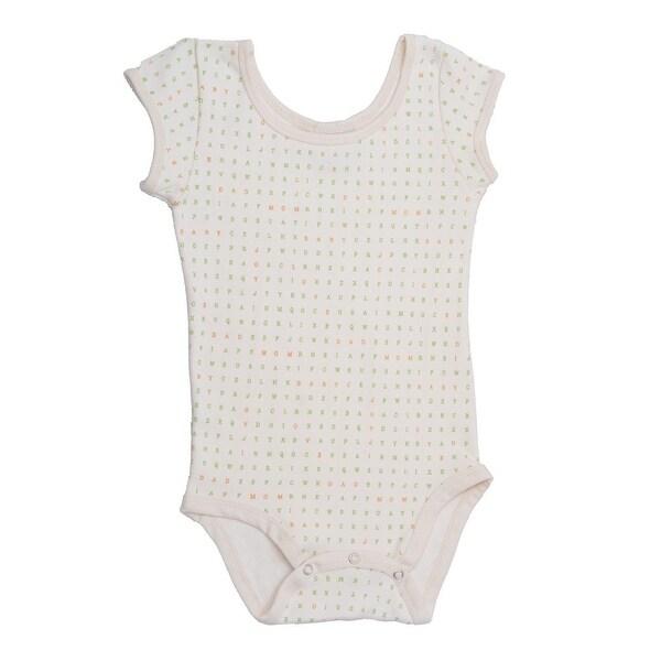 Baby Girls White Cap Sleeve Alphabet Pattern Organic Cotton Bodysuit 0-12M