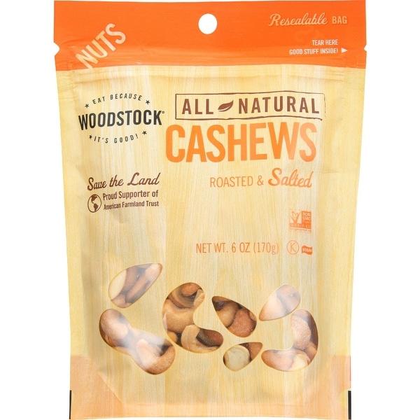 Woodstock Cashews - Roasted - Salted - Case of 8 - 6 oz.