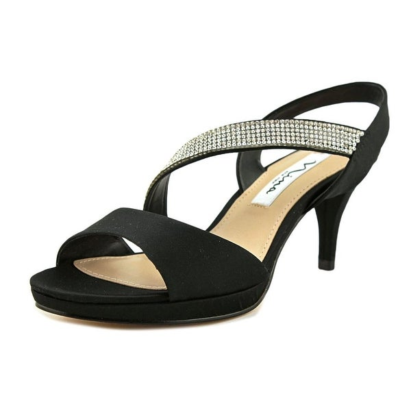 Nina Novelle Women Open Toe Canvas Black Sandals