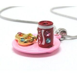 Children's Miniature Soda and Pretzel pendant Necklace