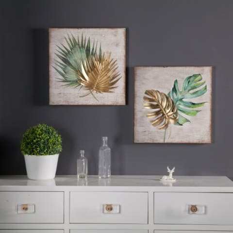 2pc Wood and Metal Tropical Leaf Wall Plaque