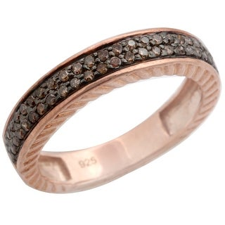 0.34 Carat Round Brilliant Cut Natural Brown Diamond Half Eternity Anniversary Ring
