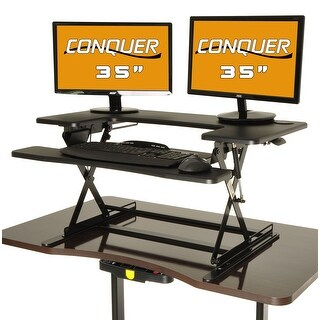 "Conquer Height Adjustable Standing Desk Monitor Riser, 35"" Desktop Sit to Stand Workstation"