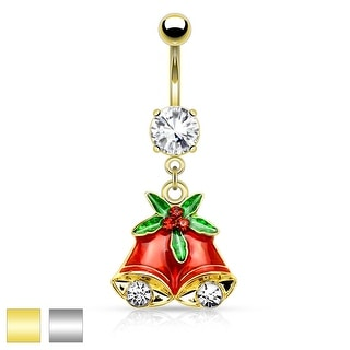 "Gemmed Mistletoe and Bell Dangle Belly Button Navel Ring - 14GA - 3/8"" Long"
