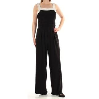Womens Black Square Neck Sleeveless Jumpsuit Size 10