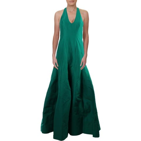 Halston Heritage Women's Sleeveless Halter Scoopneck Tulip Gown