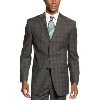 Sean John Blazer Dark Olive Brown Glen Plaid Sportcoat 3-Buttons
