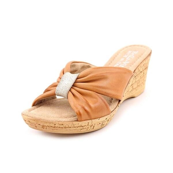 Bella Vita Perfetto Women N/S Open Toe Leather Tan Wedge Sandal