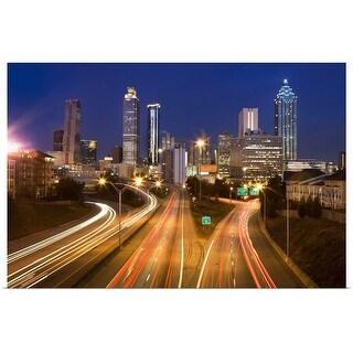 """Light Trails in Atlanta, Georgia"" Poster Print"