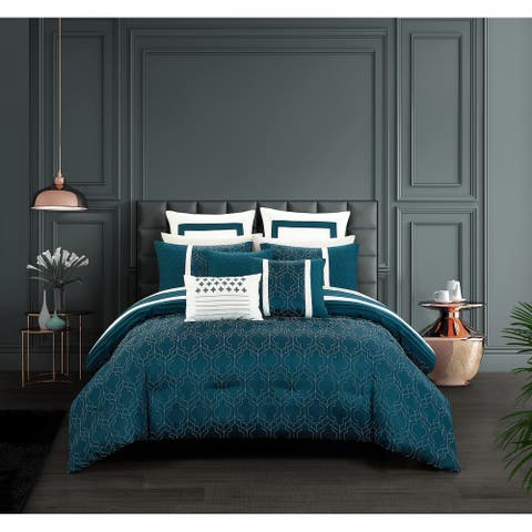 Chic Home Arlea 8 Piece Teal Jacquard Geometric Pattern Design Comforter