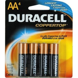 Duracell Coppertop AA Alkaline Batteries 4 Each