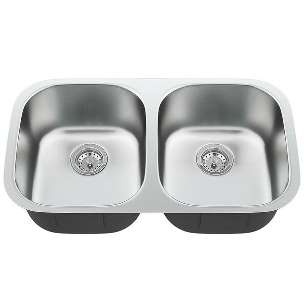 """32-1/2"""" Stainless Steel Double Bowl Kitchen Sink"""