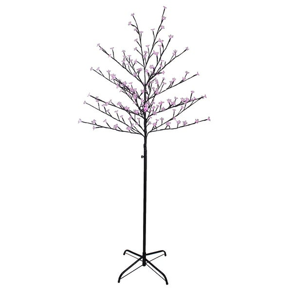 6' LED Lighted Sakura Cherry Blossom Flower Artificial Tree - Pink Lights - N/A