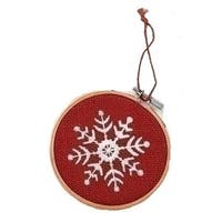 "4.5"" Red and White Embroidered Snowflake in Hoop Loom Christmas Ornament"