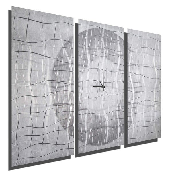 Statements2000 Silver / White Modern Metal Panel Wall Clock by Jon Allen - Contemporary Vibrations