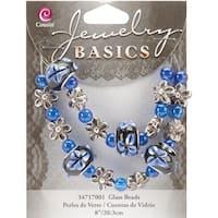 "Jewelry Basics Glass Bead Strands-Blue Fancy Round Mix 8"" - Blue"