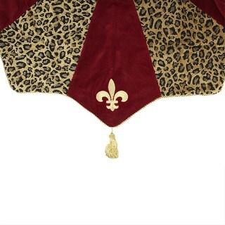 "54"" Diva Safari Elegant Leopard Print, Burgundy and Fleur de Lis Christmas Tree Skirt"
