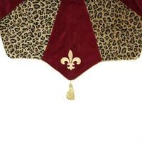 "54"" Diva Safari Elegant Leopard Print, Burgundy and Fleur de Lis Christmas Tree Skirt - Brown"