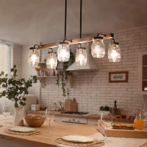 "Farmhouse/ Rustic 6-light Chandelier Faux Wood Kitchen Islands Light Fixture - Brown - L27.5""xW1""xH7.5"""