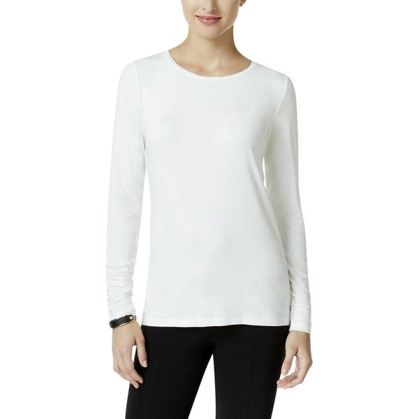 5c7af05d344ba Shop Alfani White Women s Size XXL Plus Ruched Sleeve Tee Knit Top - On  Sale - Free Shipping On Orders Over  45 - Overstock - 27124147