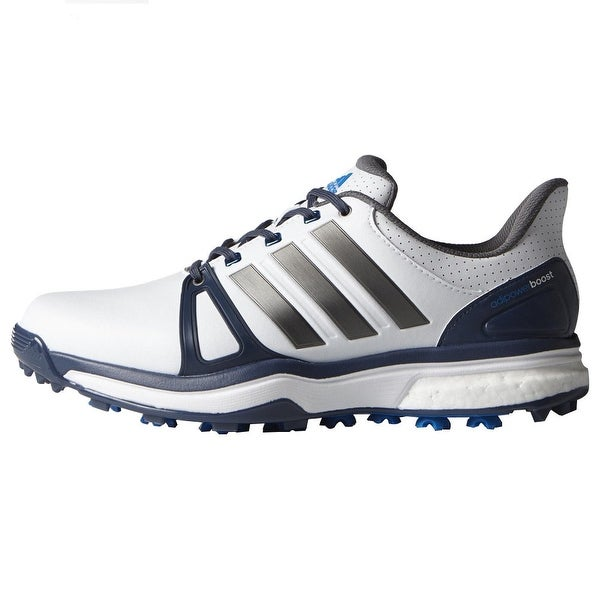 5565e737e994 Shop Adidas Men s Adipower Boost 2 White Blue Shock Blue Golf Shoes Q44661    Q44665 - Free Shipping Today - Overstock - 18272308