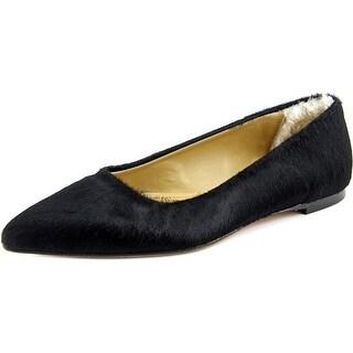 UGG Collection linda Women Round Toe Suede Black Ballet Flats