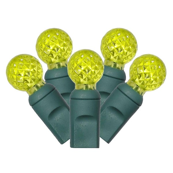 "Set of 100 Lime Green LED Faceted G12 Berry Christmas Lights 4"" Spacing - Green Wire"