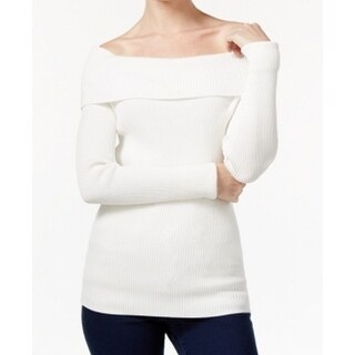 Michael Kors NEW White Womens Size P Petite Ribbed Off-Shoulder Sweater