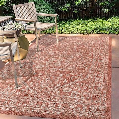 JONATHAN Y Malta Bohemian Medallion Textured Weave Indoor/Outdoor Area Rug