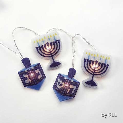 Set of 10 Blue and White Hologram Hanukkah Light Set - 6 ft White Wire